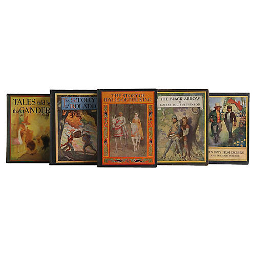 Vintage British Book Display Set, S/5