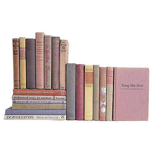 Weathered Lilac & Greige Book Set, S/20