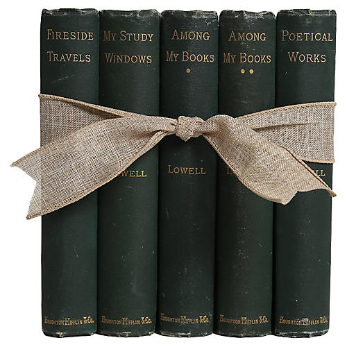 Antique Book Gift Set in Green, S/5