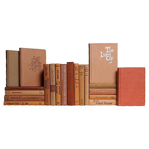 Midcentury Coral Book Set,S/20