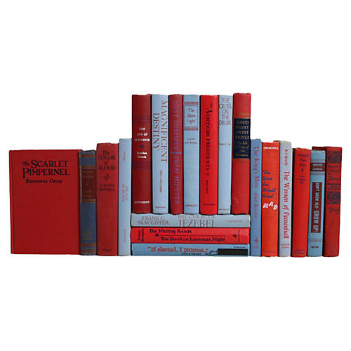 Midcentury Book Set in Red & Blue, S/20