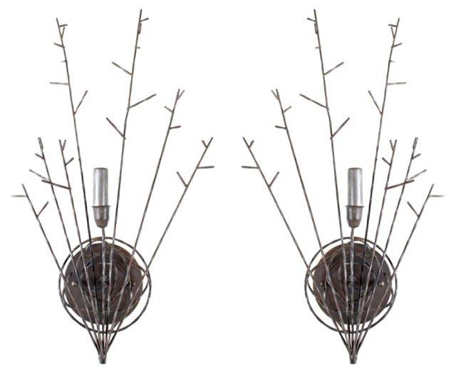 Wrought Iron Sconces, Pair