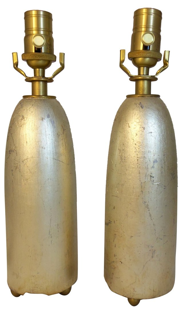 Silver Leafed Torpedo Lamps, Pair