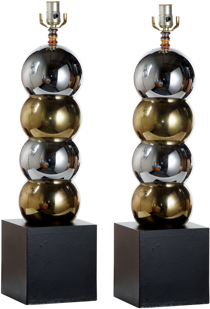 Gold & Silver Ball Lamps, Pair