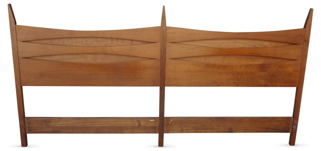 Walnut Midcentury Headboard, King-Size