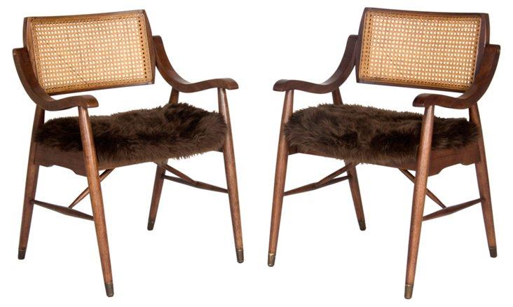 Wood & Faux-Fur Armchairs, Pair