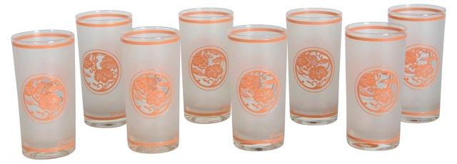 Coral & White Culver Glasses, S/8