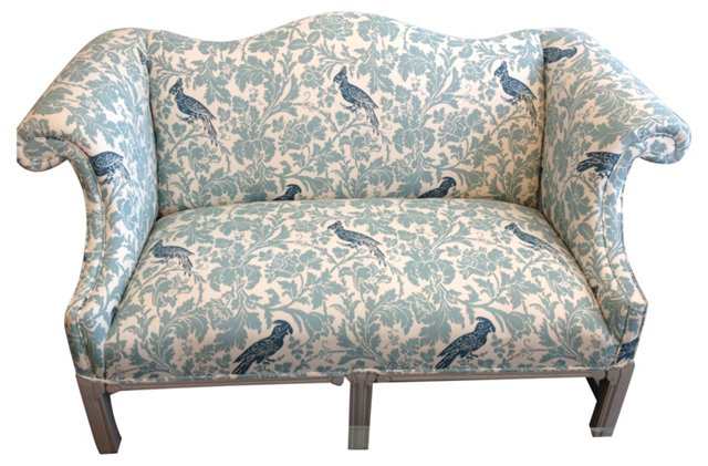 Sofa w/ Parrot & Floral Upholstery