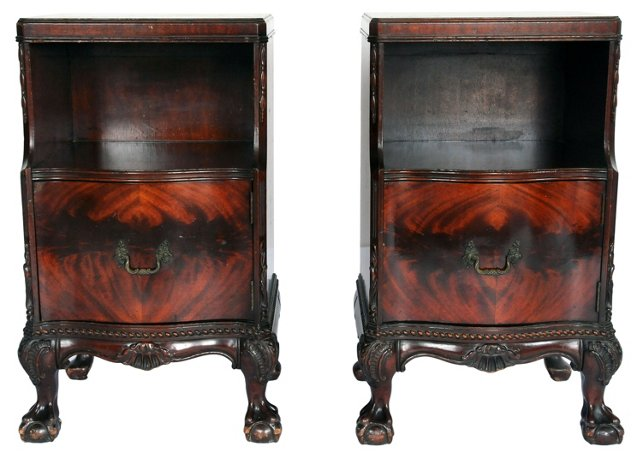 Chippendale-Style   Nightstands, Pair