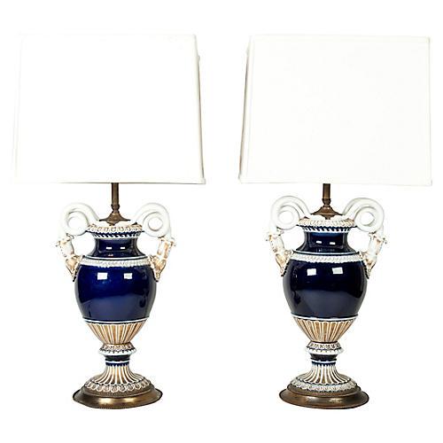 Pair Meissen cobalt Blue Porcelain lamps
