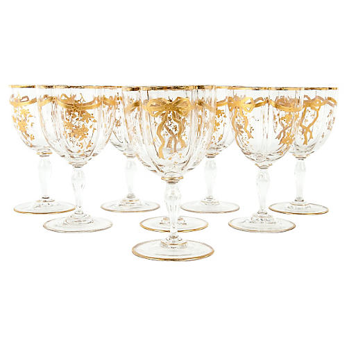 Antique French Wine/Water Glasses, S/8
