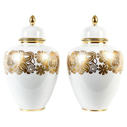 Vintage European Covered Urns, Pair