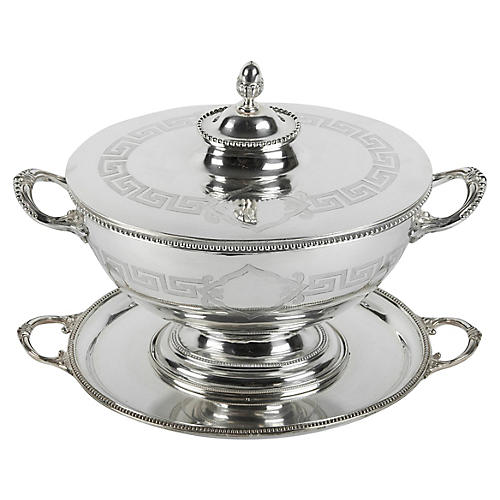 English Sheffield Covered Tureen, 3 Pcs