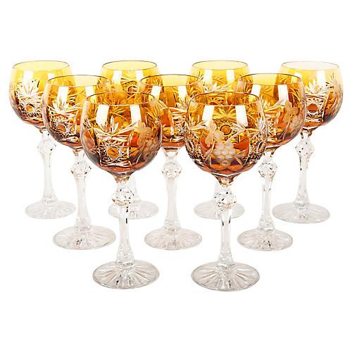 Crystal Wine Glasses, S/9