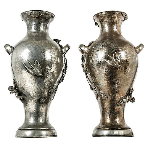 19th-C. Decorative Vases, Pair