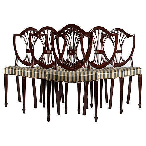 Mahogany Dining Chairs, S/6