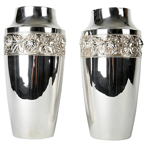 English Silver-Plated Vases, Pr