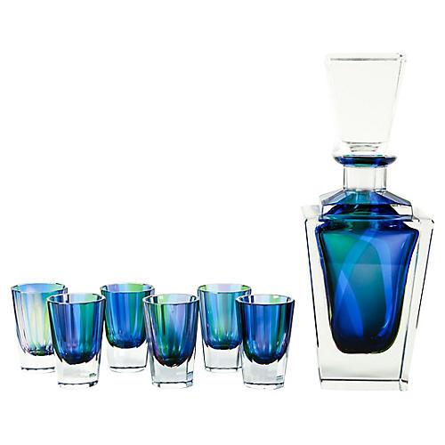 Blue Cut Crystal Liquor Set, 7-Pcs