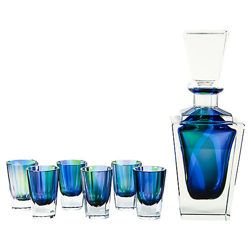 Blue Cut Crystal Liquor Set, 7-Pcs