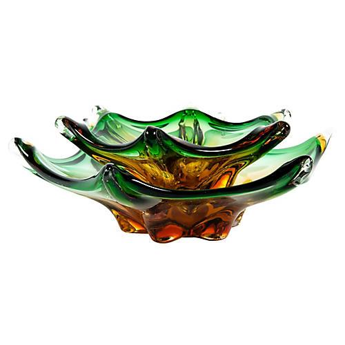 Midcentury Glass Centerpieces, 2 Pcs