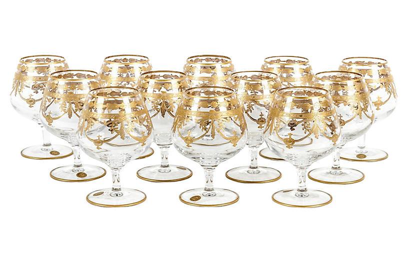 Murano Cognac Glasses, S/8