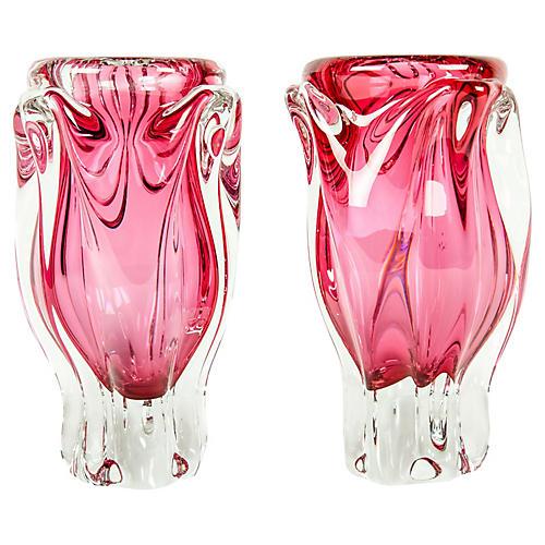 Murano Glass Deco Pink Vases, Pair