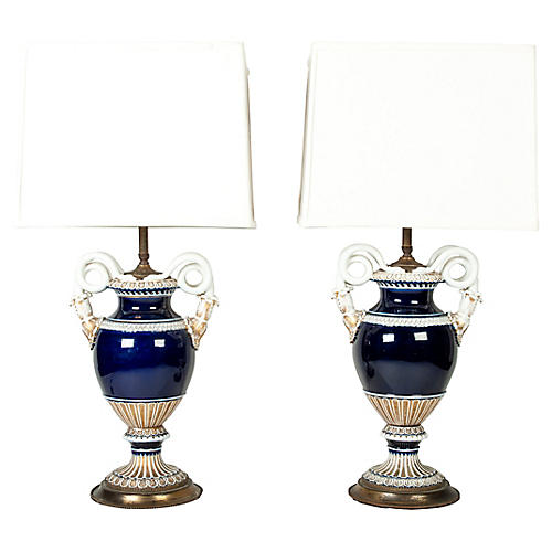 Antique Meissen Porcelain Lamps, Pair