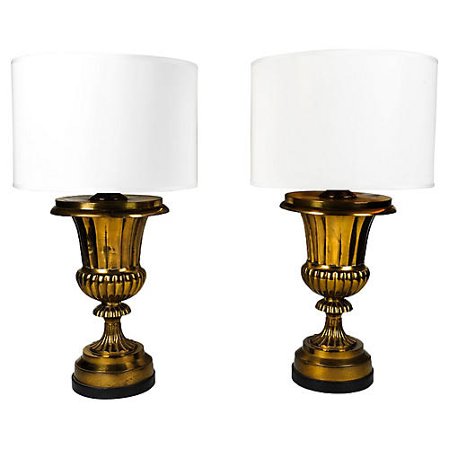 Brass Task Lamps, S/2