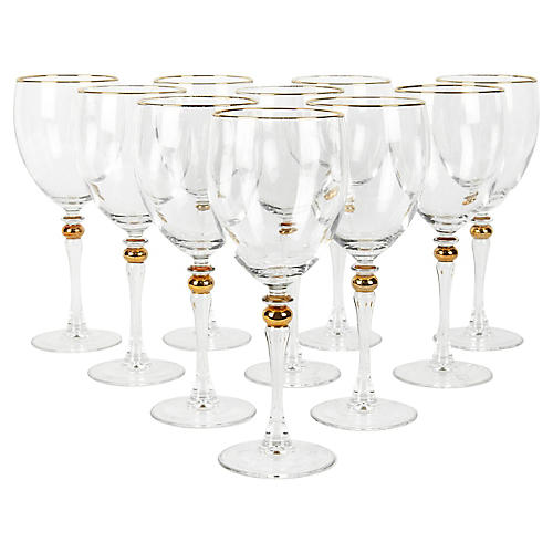 Crystal Wineglasses, S/10