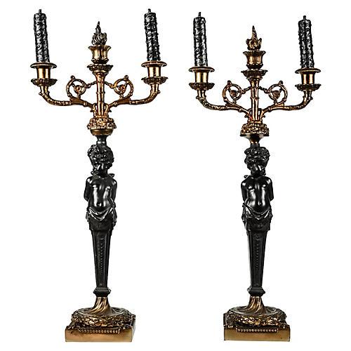 Antique French Bronze Candelabra, Pair