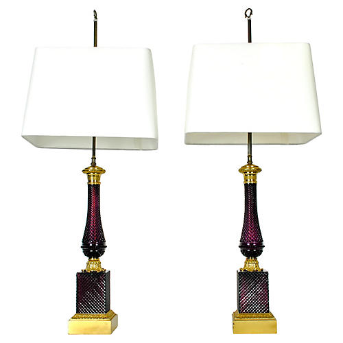 S/2 French Glass Table Lamps