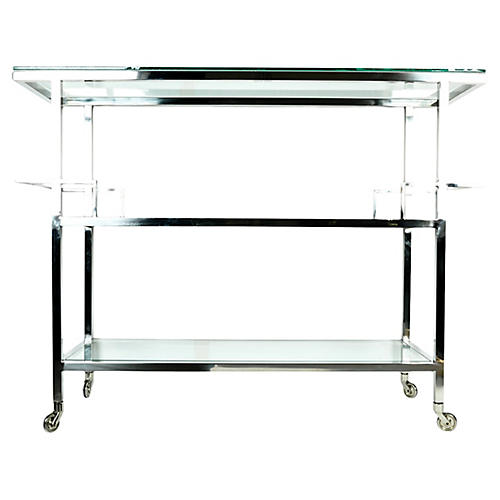 Midcentury Metal Bar Cart