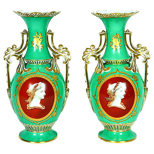 French Cameo Porcelain Vases, Pair