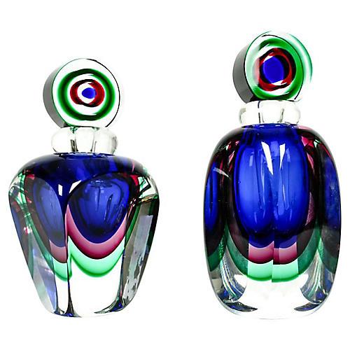 Murano Glass Perfume Bottles, S/2
