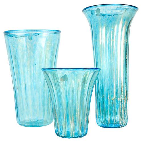 Turquoise Murano Glass Vases, S/3
