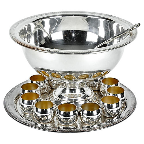 Antique Silver Plated Punch Bowl Set