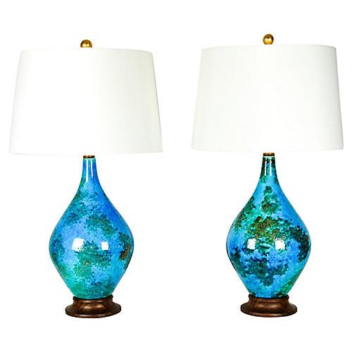 Vintage Glazed Ceramic Pair Table Lamps