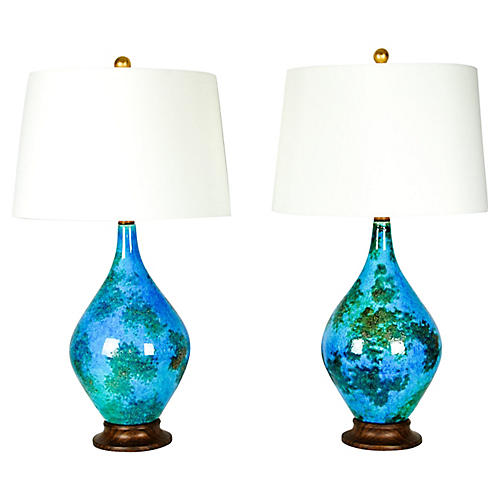 Vintage Glazed Ceramic Table Lamps, Pair