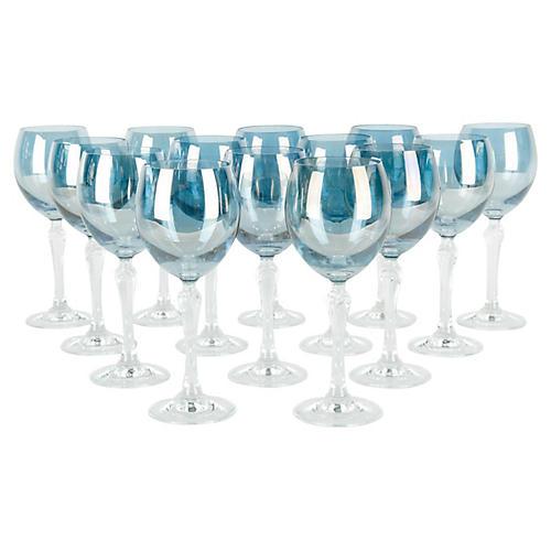 Iridescent Blue Wineglasses, S/12