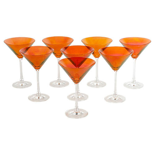 Red Martini Glasses, S/8