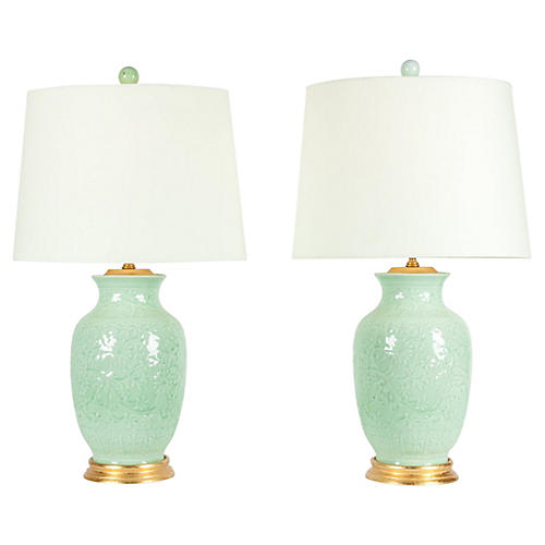 Midcentury Porcelain Table Lamps, S/2