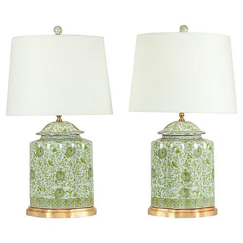 Midcentury Porcelain Table Lamps, S/2