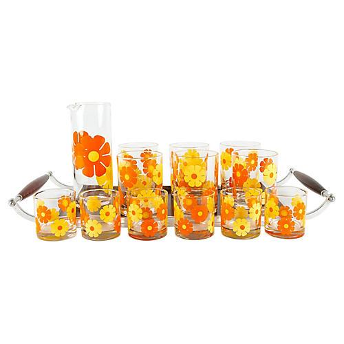 Floral Cocktail Set, 15 Pcs