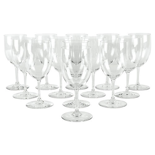 French Crystal Wineglasses, S/13