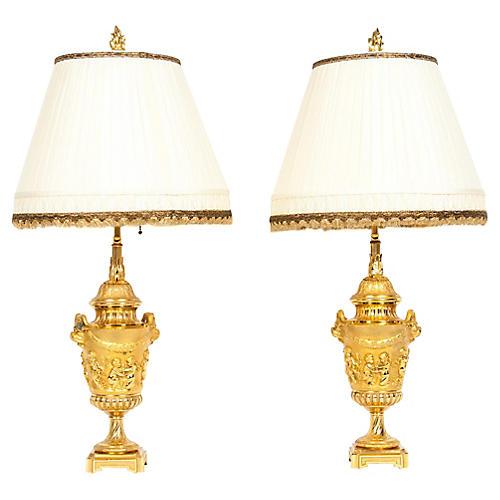 Pair Neoclassical Gilt Bronze Lamps