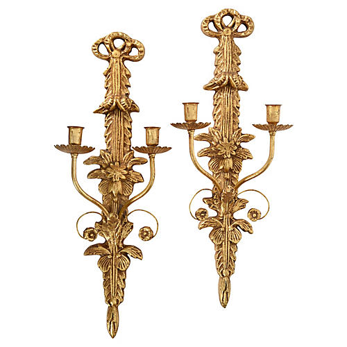 Vintage Giltwood Wall Sconces, Pair