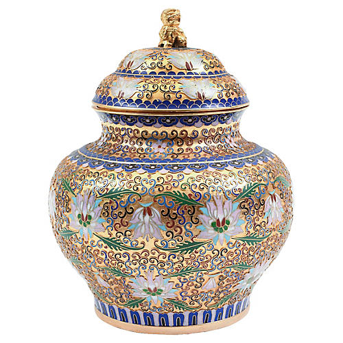 Covered Decorative Cloisonne Urn / Piece
