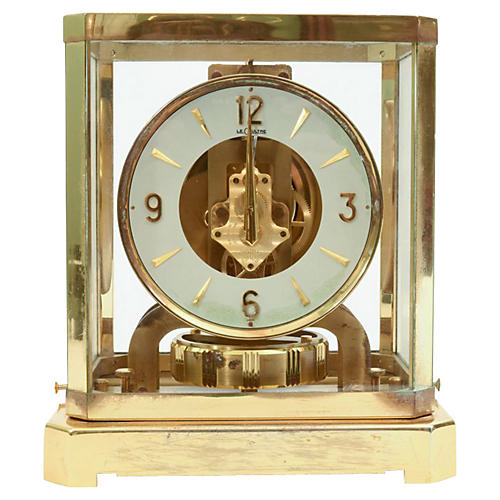 Case Glass/Brass Jaeger Desk Clock