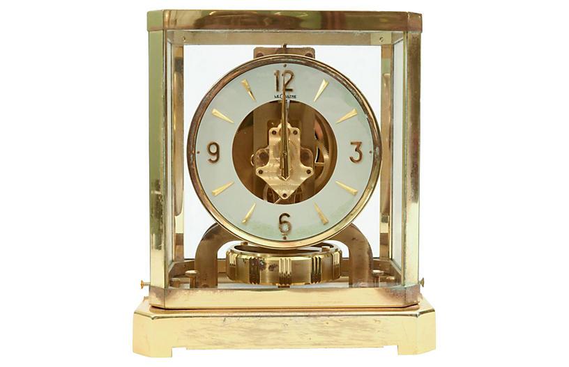 Case Glass/Brass Jaeger Desk Clock