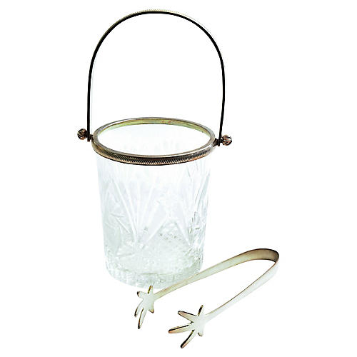 Vintage Barware Ice Bucket With Tong .